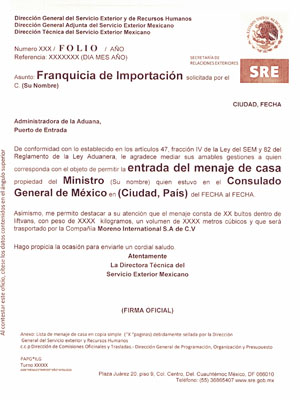 Import of Household Goods to Mexico